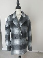 WOMAN Black White Tartan Pattern, Overzized Warm jacket, made in Italy, Sz L-XL