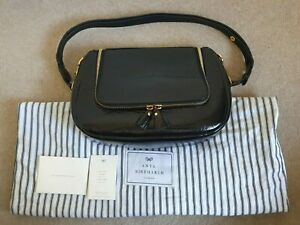 ANYA HINDMARCH VERE Satchel Bag In Black Patent Leather & Dustbag
