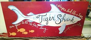 Rare Pottery Barn Kids TIGER SHARK Surf Beach Nautical Pop Art Wood Wall Plaque