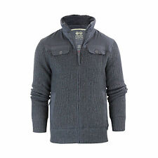 Mens Cardigan Jacket Crosshatch Mirotic Knitted Funnel Neck Fleece Lined Body Charcoal Marl Large