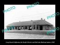 OLD LARGE HISTORIC PHOTO OF LONG BEACH PACIFIC ELECTRIC RAILROAD STATION c1905