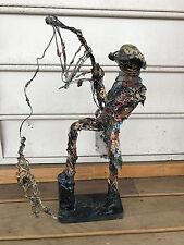 RARE Unique Wire Art Fisherman Holding Pole With Fish Figure Statue