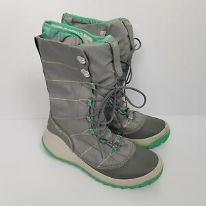 Teva Winter Snow Boots Thinsulate Liner Grey Green Size US 8 EUR 39