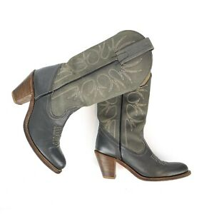 Women's FRYE Western Cowboy Boots Sz 7B Gray Leather Heeled Midcalf Rodeo Boot