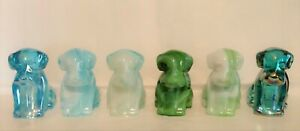 Boyd Glass - Set of Six Pooche Pooch Dogs, 2007 - 2008, Carnival, Slag, Signed
