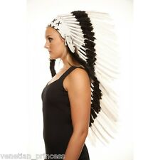 White Feather Native American Indian Headdress Coachella MH009 USA SELLER