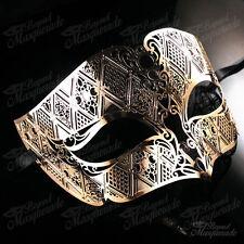 Mens Unisex Simplistic Filigree Light Metal Venetian Masquerade Prom Mask [Gold]