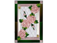 20x30 PINK ROSES Stained Art Glass Window Suncatcher