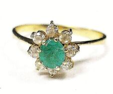 18k Yellow Gold Genuine Solitaire Green Oval Emerald Halo Design Ring Size 7.00