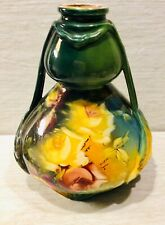 Antique Hand Painted, Bonn Germany, Royal, Yellow Floral Vase, 8 Inches