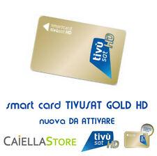 TESSERA SCHEDA SMART CARD TIVUSAT HD TVSAT ORO GOLD NUOVA DA ATTIVARE