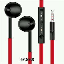 2X Black+Red flat cable Earphones Hands free Remote Mic iPhones iPod Samsung HTC