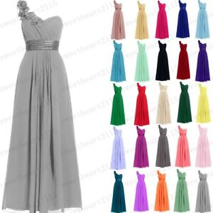 Long Chiffon Wedding Formal Evening Party Bridesmaid Ball Gown Dress Size 6-28