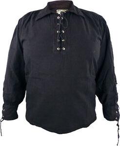 Piratenhemd Schnürhemd Mittelalter Hemd Ritter Larp Bondageshirt in 3 Farben