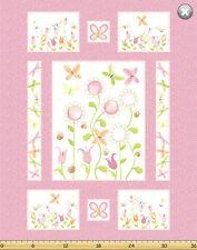 """Susybee's Sunflower Pink Quilt top 100% cotton fabric by the Panel 42"""" X 35"""""""
