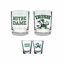 Notre Dame Fighting Irish 2-Sided Colored Rock Glass and Shot Glass Set