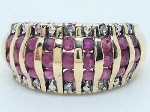 9.5mm Wide 10k Yellow Gold 27 Natural Ruby Diamond Size 5.5 Dome Band Ring 4.1g