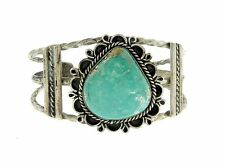 Navajo Sterling Silver Twist Natural Cripple Creek Turquoise Stone Bracelet Cuff