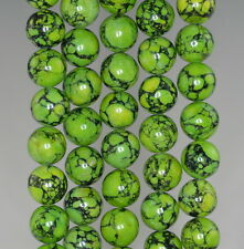 10MM GREEN TURQUOISE GEMSTONE GREEN YELLOW ROUND 10MM LOOSE BEADS 16""