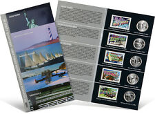 USPS State Quarters and Stamps Portfolio (NY, NC, RI, VT, KY)