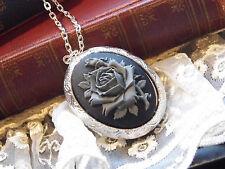 ROCKABILLY GREY GRAY GOTHIC ROSE STEAMPUNK  PHOTO Cameo Necklace Locket BOX BLK