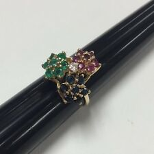 14kt Yellow Gold Ruby Emerald Sapphire And Diamond Flower Ring 4.5gr Size 6