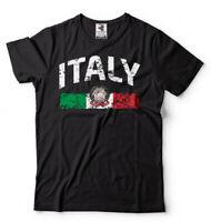 Mens T-shirt Italy Distressed Flag Soccer Fan Italy Italian Pride Heritage Tee