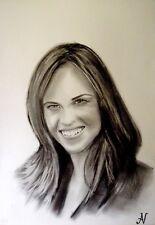 Hilary Swank - ritratto portrait grafite e carboncino cm. 33 x 48
