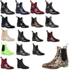 Damen Lack Stiefeletten Gummistiefel Chelsea Boots Schuhe 70510 Gr. 36-41 Top