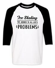 New ListingIce Skating T-Shirt Figure Skater Christmas Gift 3/4 Sleeves Raglan Funny Tee