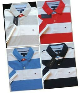 Tommy Hilfiger Men's Custom Fit Short Sleeve Striped Polo