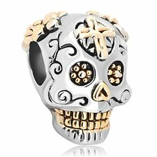 Silver Plated Base Pandora Charm Skull Cross Dia De Los Muertos Beads Gift New
