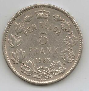 BELGIUM - 5 Francs - Albert I (Dutch text) 1933 (RARE) Nickel • 14 g • ⌀ 31 mm