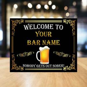 Funny personalised Bar Sign Metal Tin sign plaque man cave shed home pub cafe