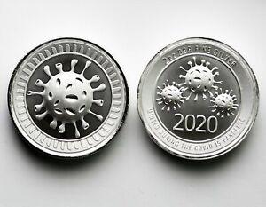 2020 2 Oz 999 Silver Round Cov-19 Envela Ultra High Relief Coin! No Reserve...