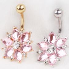 Navel Belly Button Rings Crystal Flower Dangle Bar Barbell Piercing 1.6*10*5MM