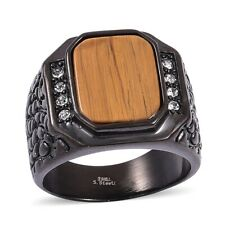 South African TIGERS EYE , Austrian Crystal Men's Signet RING in Stainless Steel