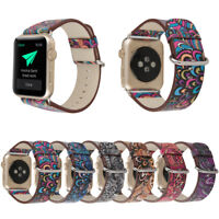 40/44mm Floral Leather Band Women Strap for Apple Watch Series 6 5 4 3 iWatch SE