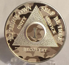 Camo & Silver Plated 1 Year AA Chip Alcoholics Anonymous Medallion Coin Sobriety