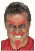 Devil Red Set Tash Beard Eyebrows Stick On Facial Hair fancy dress Halloween