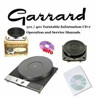 Garrard 301 401 turntable record player service instruction owner manuals on CD