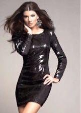 NWT bebe Kim Kardashian black sequin long sleeve skirt top dress S small 4 party