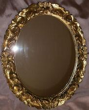 Miroir récent ovale cadre en bois & stuc doré de style baroque rococo