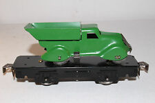 1930's Marx O Gauge Flat Car with Dump Truck Load, Green, Restored Lot # 2