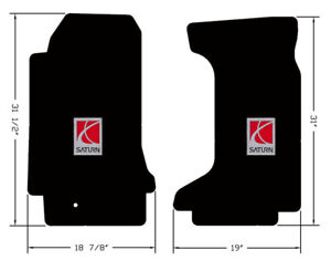 NEW! Black Floor Mats 2007-2010 Saturn SKY with Embroidered Logo, Both Front Set
