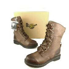 Dr Martens Aimilita 9 Eye Brown Leather Cap Toe Women's Combat Boots NEW IN BOX