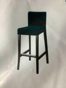 HENRIKSDAL Cover for bar stool with backrest, Djuparp dark green-blue 704.699.23