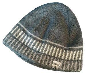 Swix Sport Wool Blend Knit Winter Cross Country Ski Hat Beanie Gray Fleece Lined