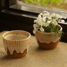 Garden Decorative Living Room Ceramic Planter (Brown and Beige, Set of 2)