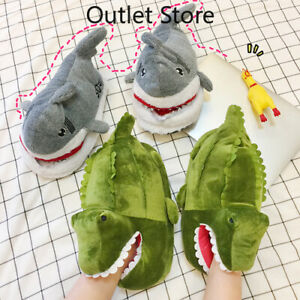 Cute Women Warm Slippers Soft Cartoon Plush Crocodile Non Slip Cosplay Flip Flop